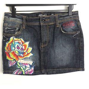2000's Ed Hardy Embroidered Denim/Jean Mini Skirt